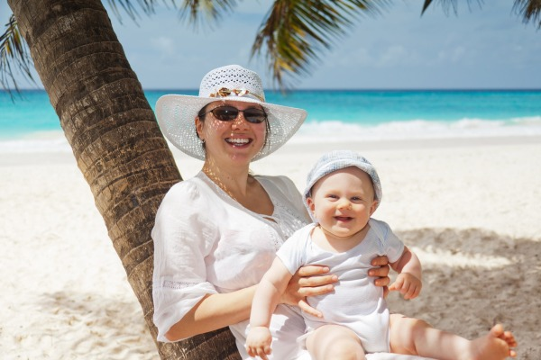 Photo of Mom and Baby on the Beach