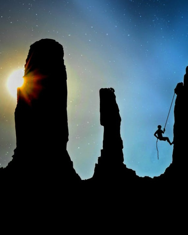 Silhouette of mountain climber