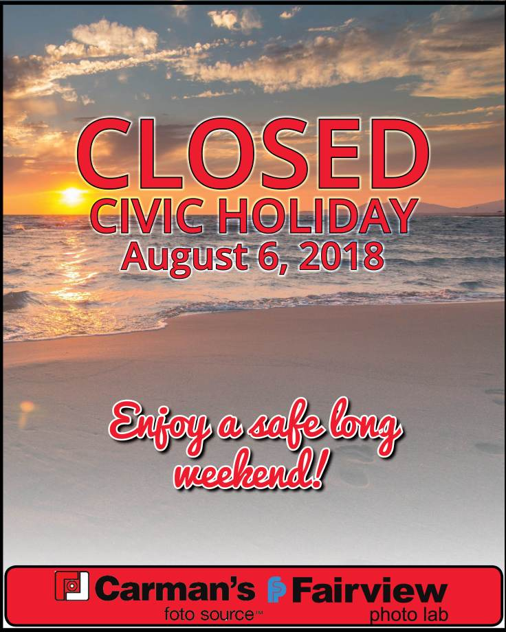 Stores are closed on Civic Holiday Monday